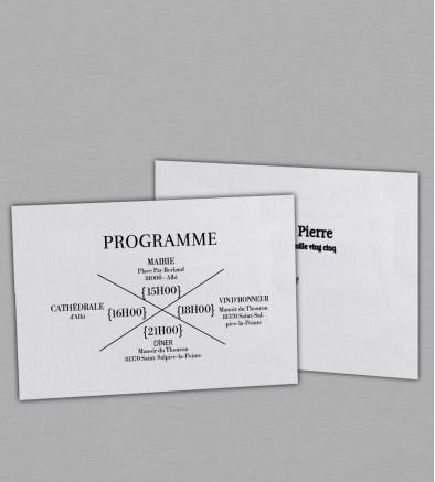 Programme de mariage champêtre Hortense