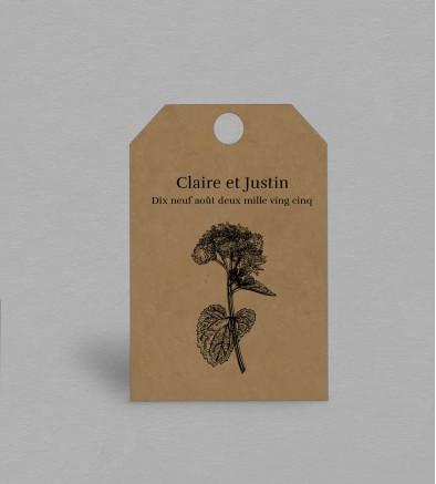 Etiquette boite à cadeaux Champêtre Hortense