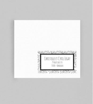 Etiquette enveloppe design Milan