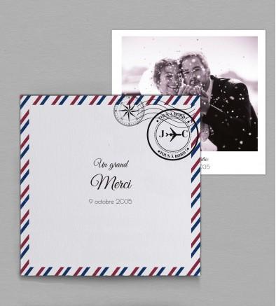 Remerciement de mariage voyage Boarding pass