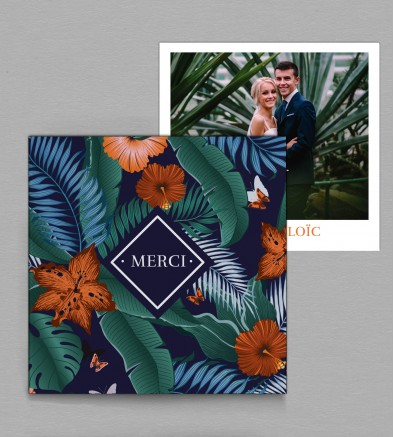 Remerciement de mariage tropical Palma