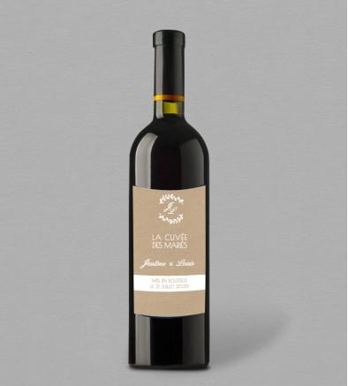 Etiquette bouteille de vin champêtre Eliette