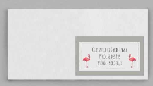 Etiquette enveloppe Flamingo