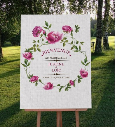 Tableau de bienvenue mariage champêtre Angèle