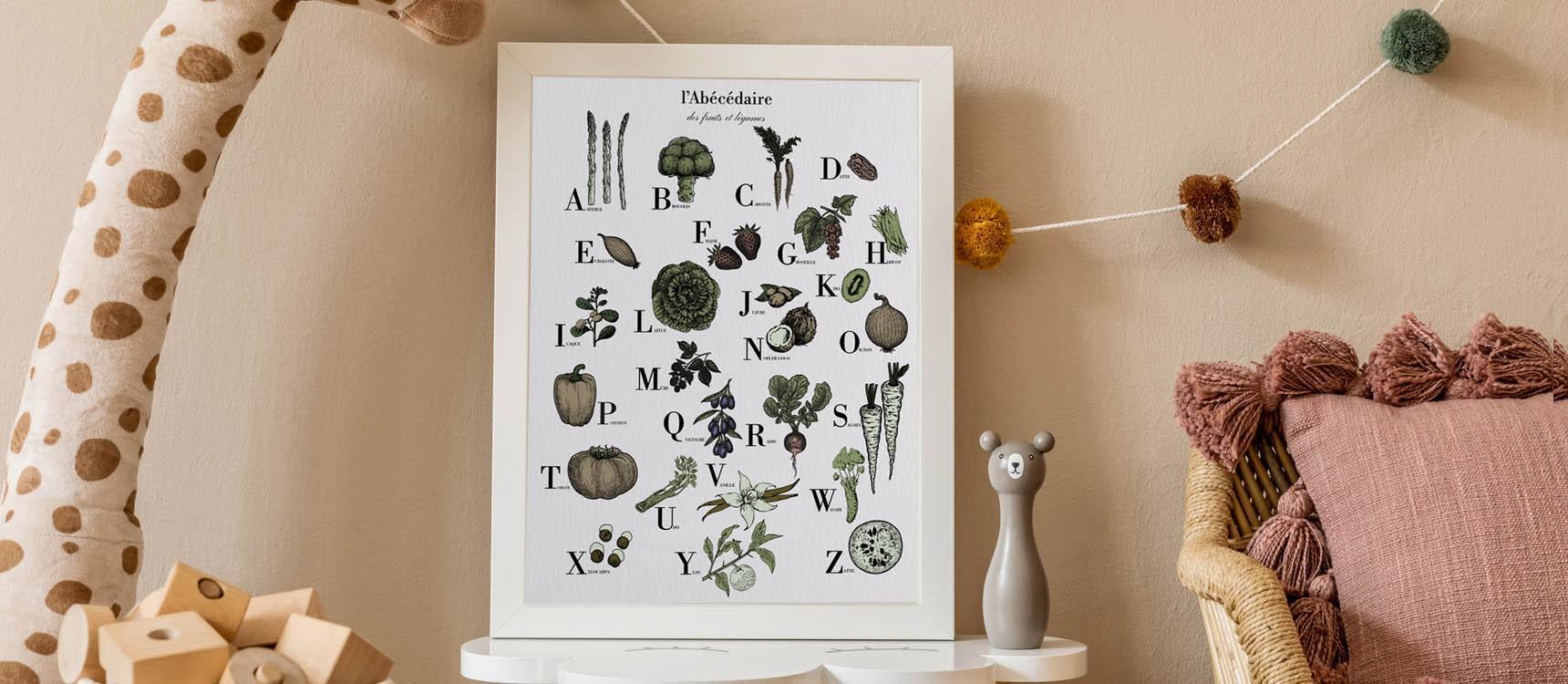 Affiche Abecedaire Des Fruits Et Legumes