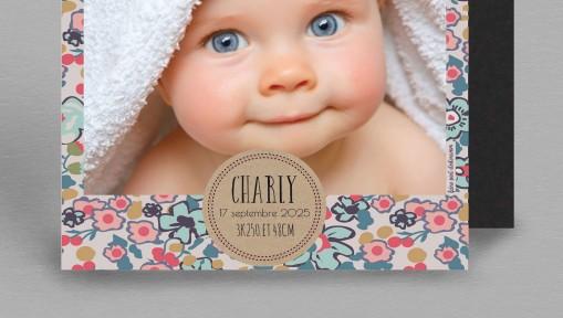 Faire part naissance magnet Liberty vintage