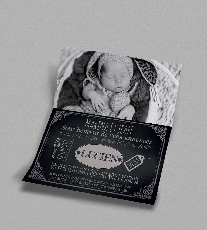 Faire-part naissance Vintage Ardoise