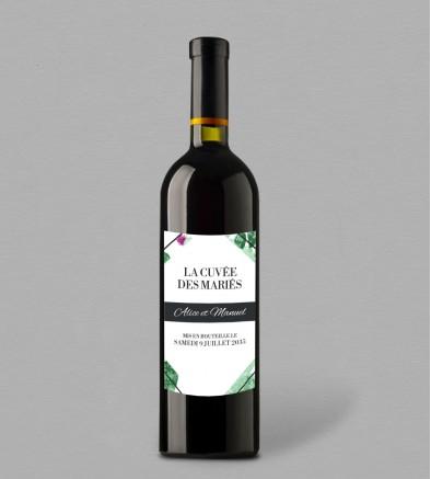 Etiquette bouteille de vin Exotique Cactus
