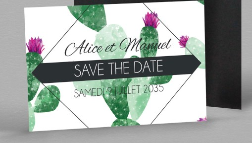 Save the date Magnet exotique Cactus