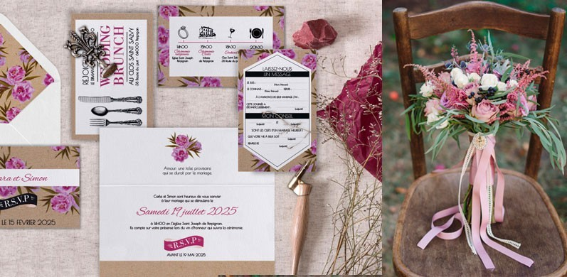 Faire-part de mariage champêtre