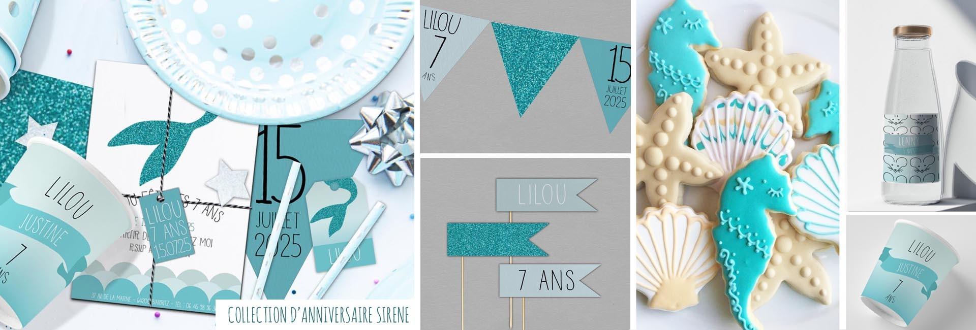 Carte d'anniversaire Sirène