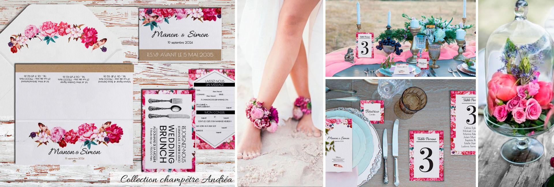 Faire part mariage champêtre collection Andréa