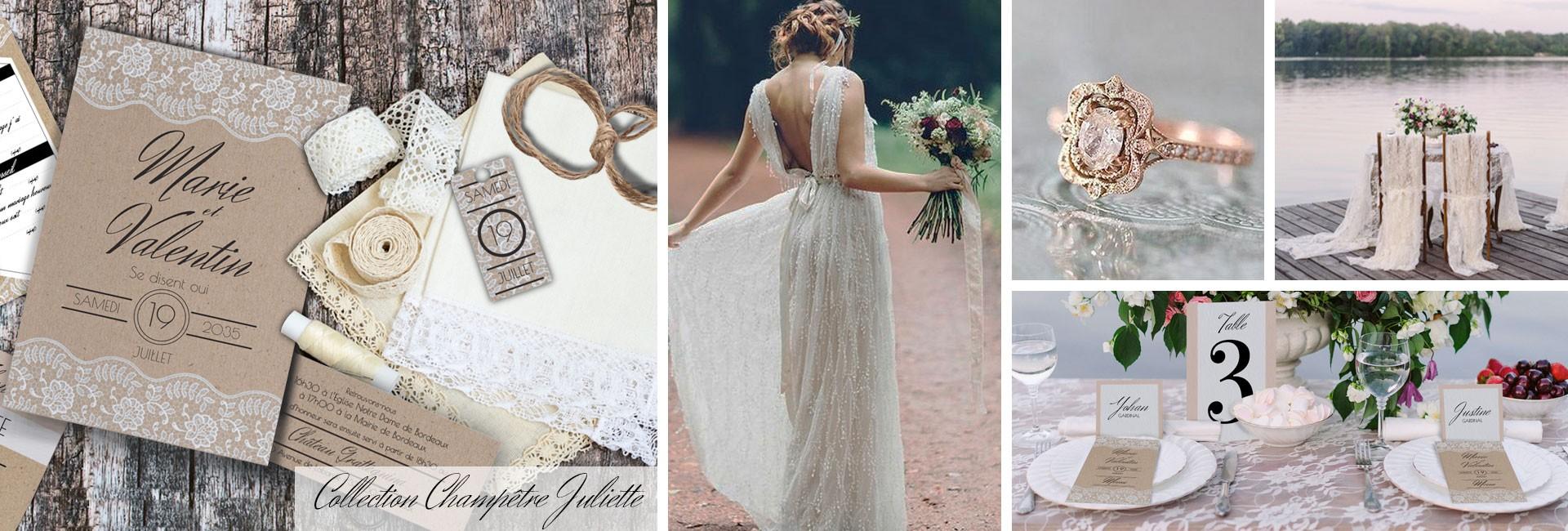 Faire part de mariage champêtre chic collection Juliette